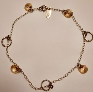 Sterling silver magnolia ankle bracelet